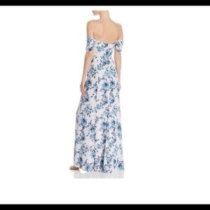 NWOT Wayf Blue Foral Long Dress Gown